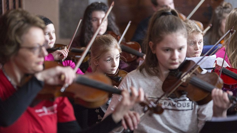 Music Generation Cork City and Carlow trad orchestra weekend at University College Cork (UCC). Photo © Clare Keogh