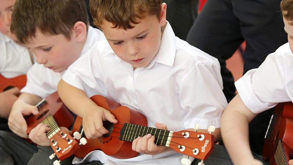 Young ukulele players from Music Generation Wicklow. Photo © Barbara Flynn