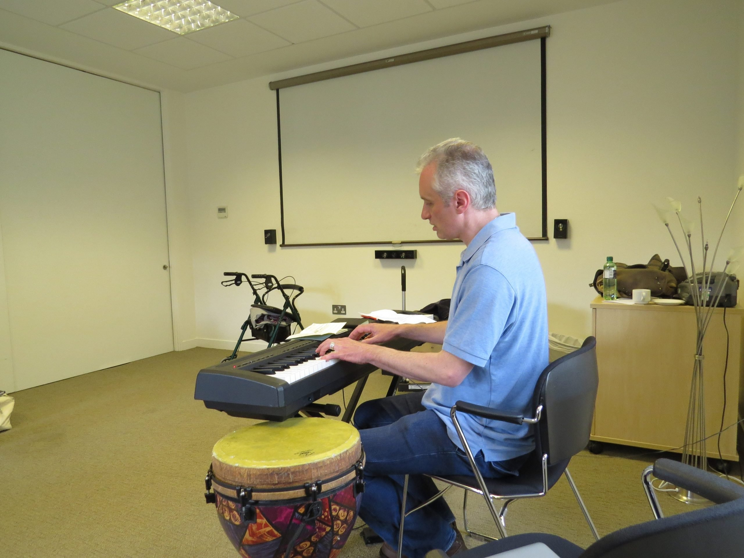 Developing material during a songwriting project with CLS at St Joseph
