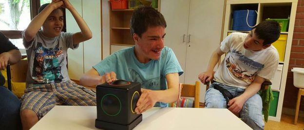 Pupils at a UK school for children with Special Educational Needs using Skoog in a lesson
