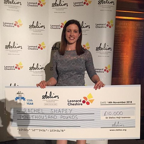 Rachel Shapey with her Stelios Award for Disabled Entrepreneurs