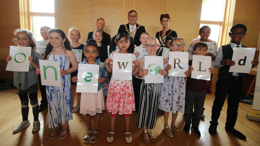 Prize-giving at Portsmouth Music Hub's One World project on 23 May 2019
