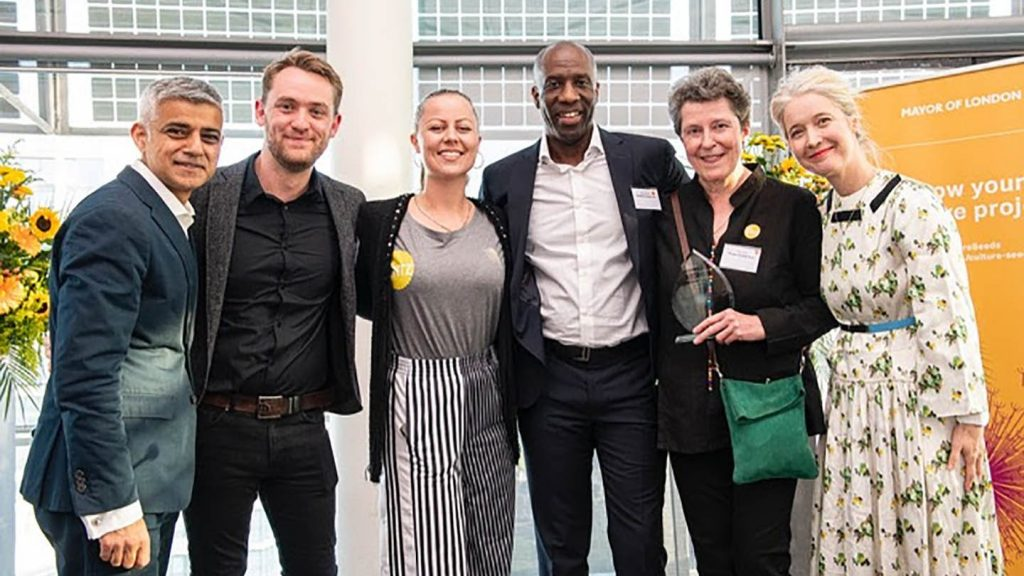 L-R: Sadiq Khan (Mayor of London), Thom Rowlands, Tanya Cracknell, Marvin Brown (Chair of Trustees), Jane Glitre (MD, Spitz Charitable Trust), Justine Simons (Deputy Mayor for Culture) © Greater London Authority