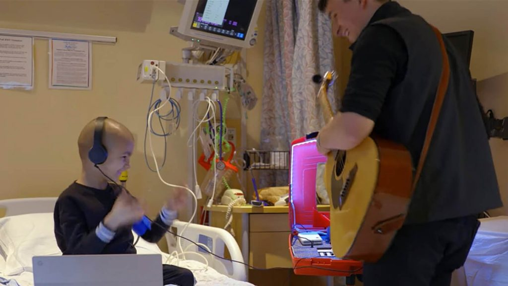 James Orrigo, aka Lad in a Battle, showcased Bandlab in his video with young cancer patient, Geo