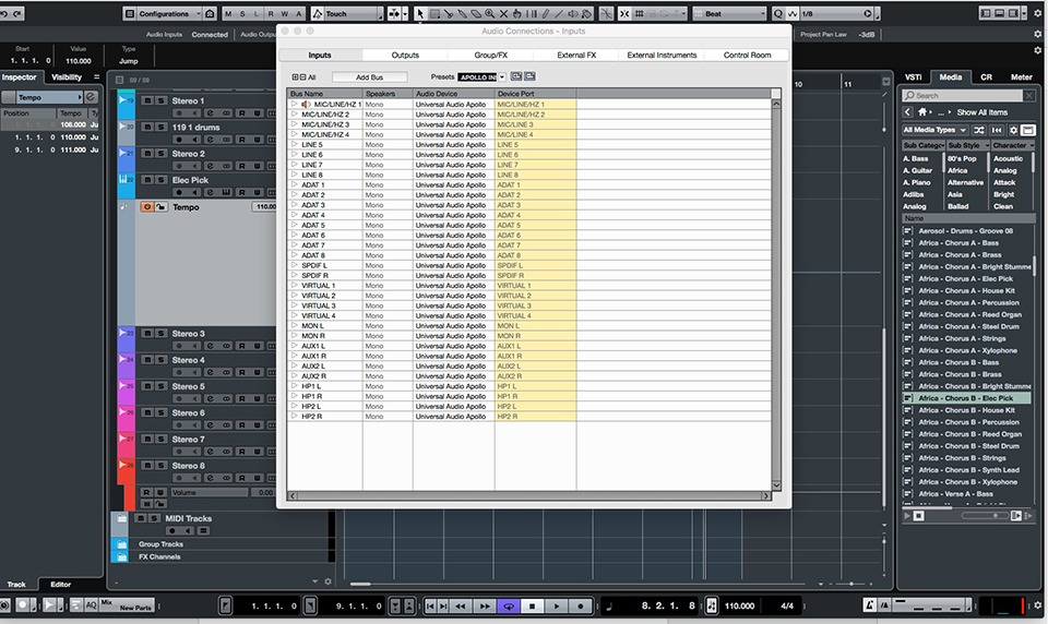 Fig 1: The Audio Connections page is where Cubase 9.5 is configured to work with computer hardware