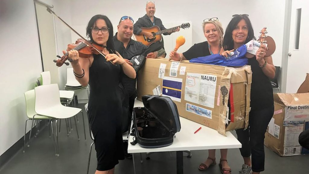 Instruments from Music for Refugees arrive in Nauru © AMUST