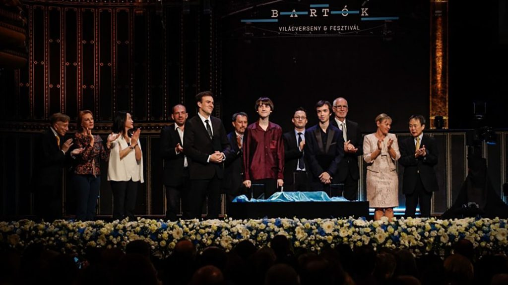 Adam Szokolay with members of the competition jury at the 2019 Bartók World Competition