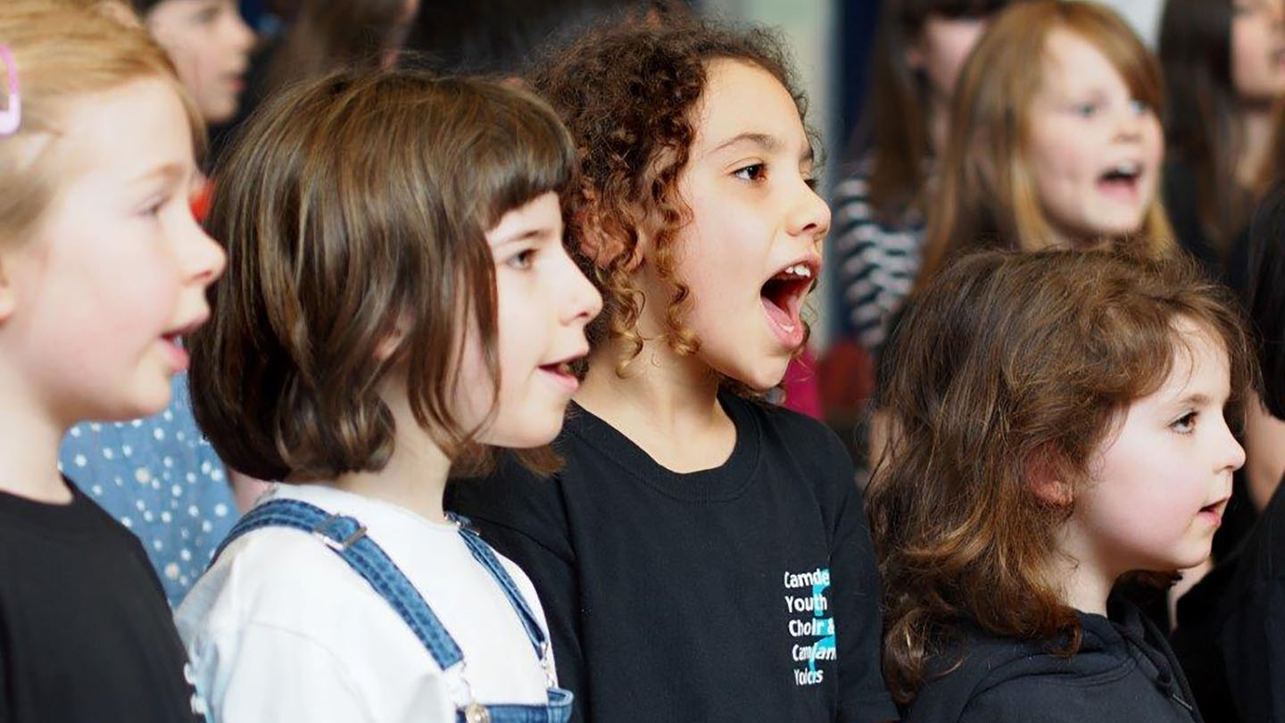 A performance by CamJam Choir at Camden Music Service's Saturday Centre in Brecknock School