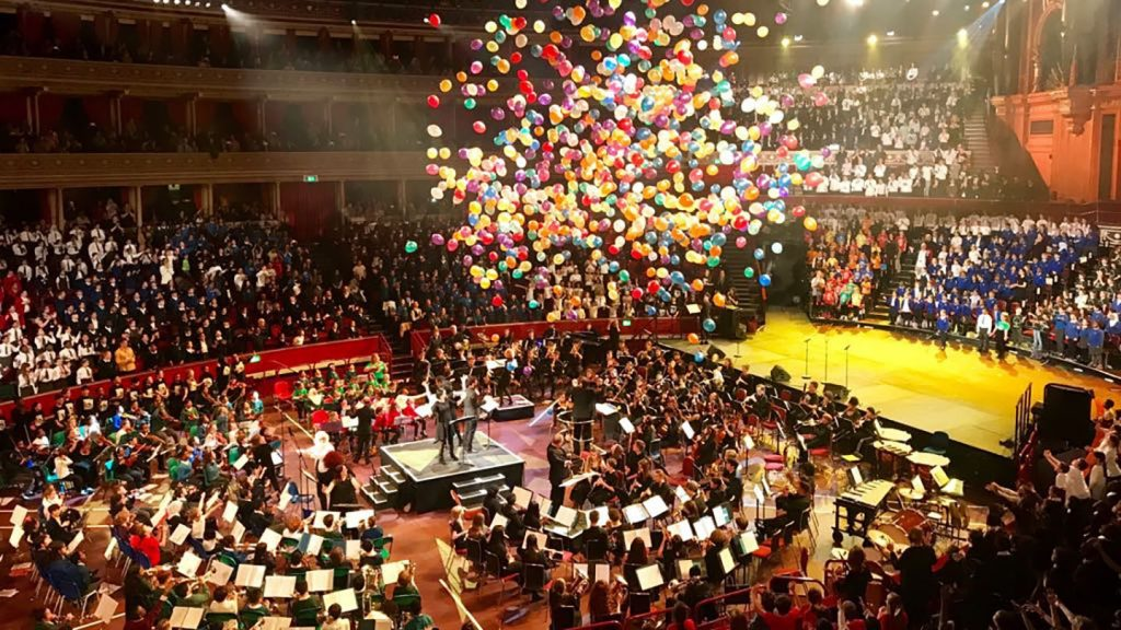 Celebrations at the end of the 2018 Camden Schools' Music Festival at the Royal Albert Hall – over 2,000 children from primary, secondary and special schools perform together at Camden Music Services' flagship events
