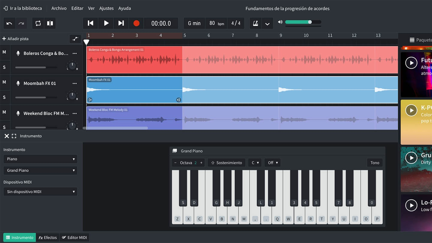 Screenshot of BandLab's Mix Editor