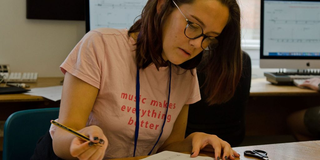 A student working on their piece at the Sound and Music Summer School 2019 Credit Martin Wess