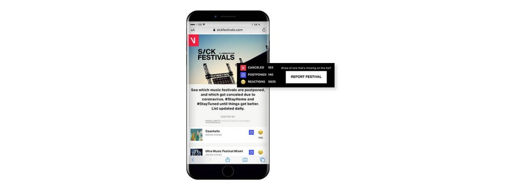 Sick Festivals offers a list of cancelled and postponed festivals updated daily