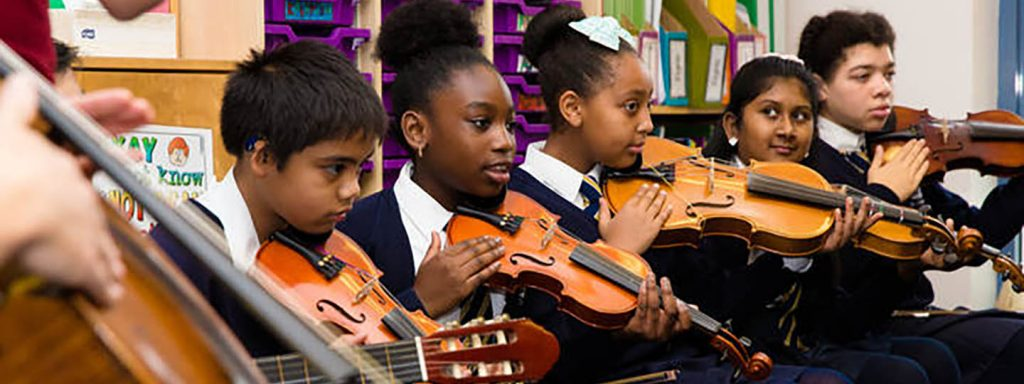 String players at St. Charles Primary School preview ABRSM Classical 100, October 2015. Picture: ABRSM / Classical 100