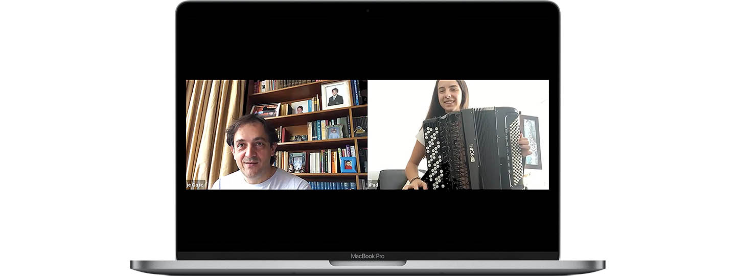 Accordion teacher, Djordje Gajic, and pupil, Sofia, in an online accordion lesson © St Mary's Music School