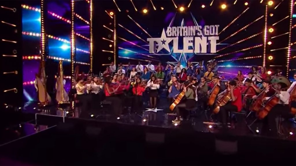 Chineke! Junior Orchestra on stage during Britain's Got Talent