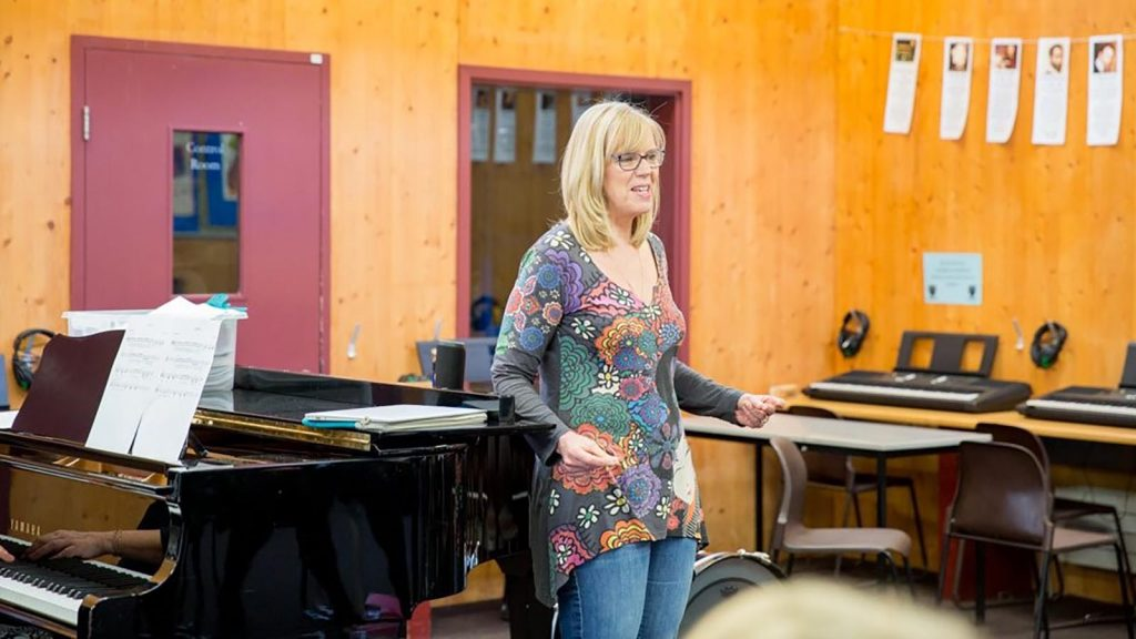 Trudy Kerr running an 'Introduction to jazz' workshop at a West London secondary school