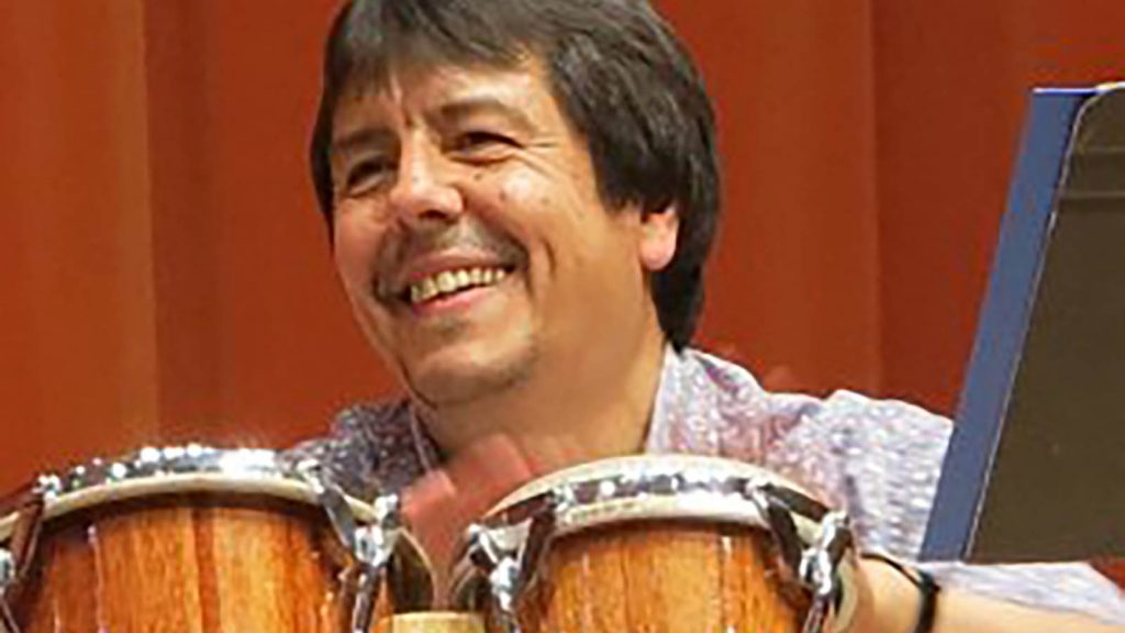 Percussionist Carlos Fuentes performs on 2 October with Andres Lafone