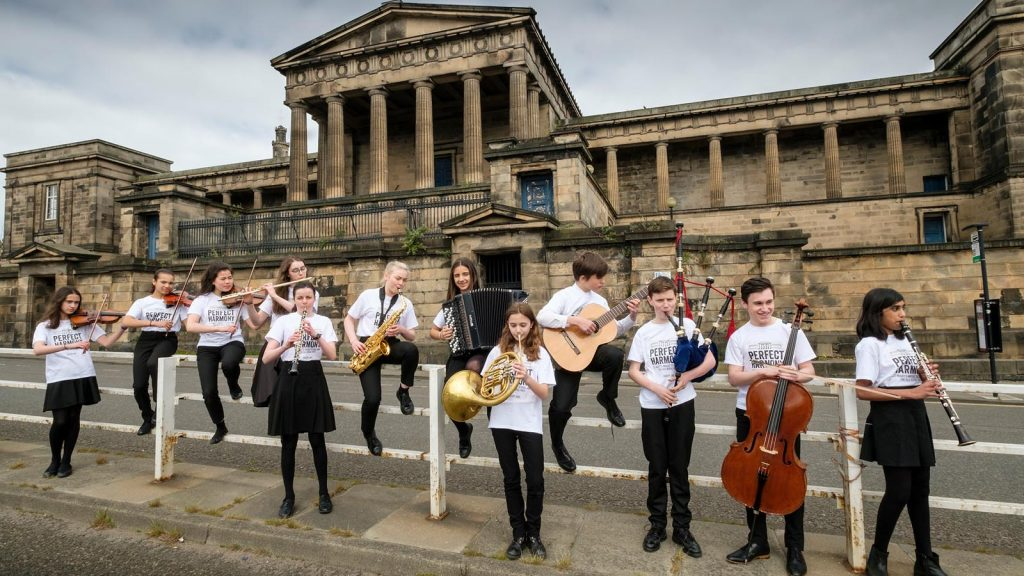 Pupils of St Mary's Music School outside the former Royal High School. Photo © Mike Wilkinson