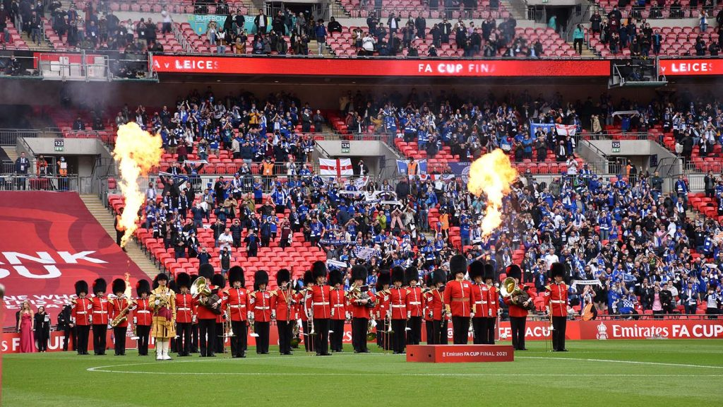 The Band of the Coldstream Guards at the 2021 FA Cup final