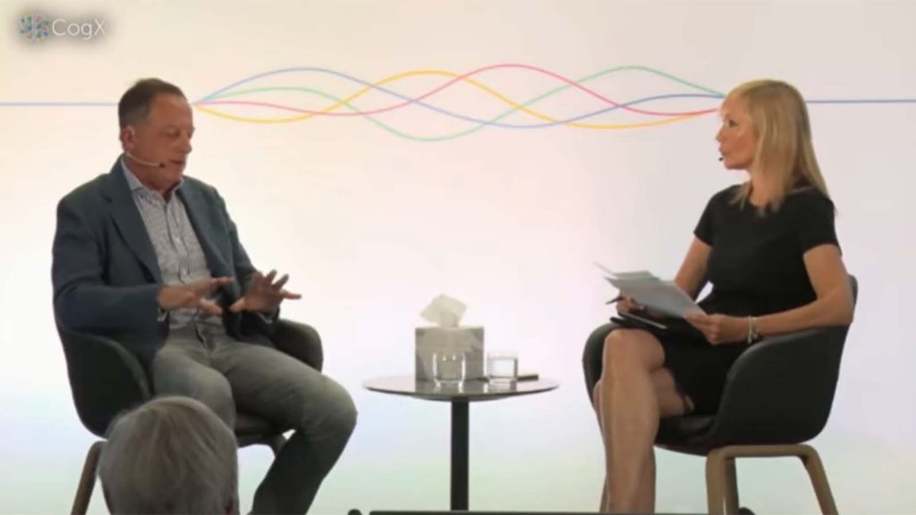 BBC Chairman Richard Sharp in discussion with Tania Bryer (CNBC International) at the 2021 CogX Festival in London