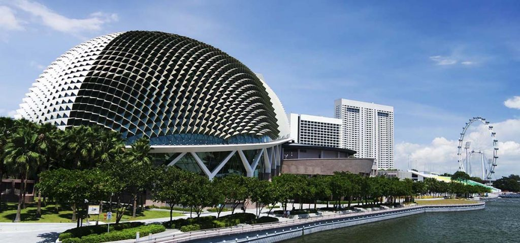 Esplanade Theatres on the Bay, on the waterfront of Singapore's bay, purpose built as a concert hall and theatre for the performing arts