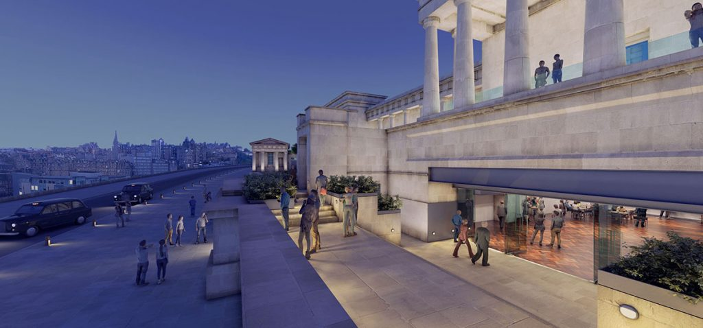 A new entrance and foyer, with terraces outside
