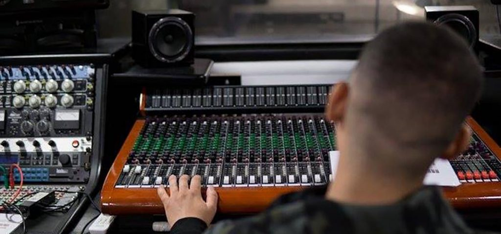 CM Community Music student at mixing desk